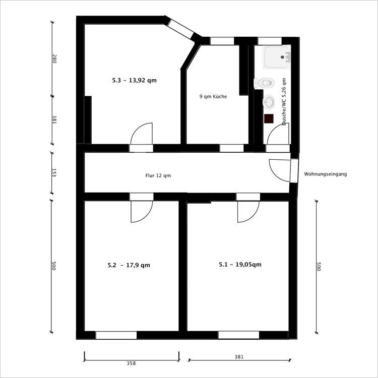 Grundriss wohnung  Domus Studentium - Zimmer und Wohnungen für Studenten in Kassel